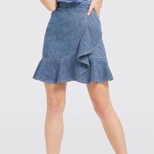 Draper James Chambray Ruffle Denim Skirt